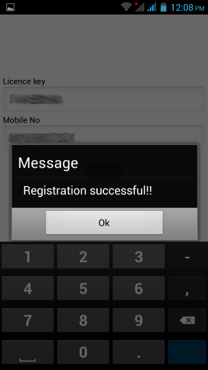 Registration successful